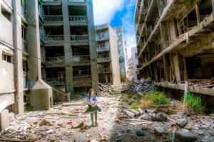 Ruiny bloków zniszczone wojną