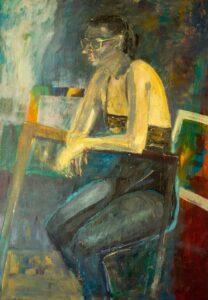 M. Pieciukiewicz, Oczekiwanie, olej na płótnie, 100x70_cm